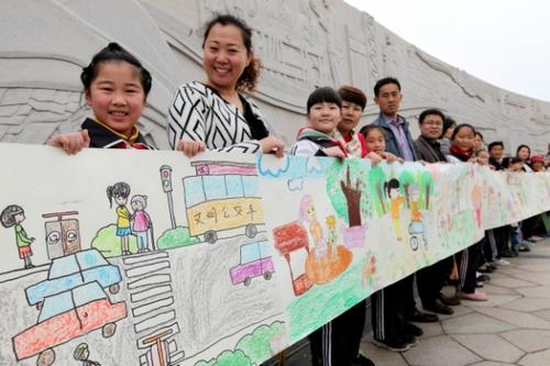 小学生创文明城市绘画分享展示