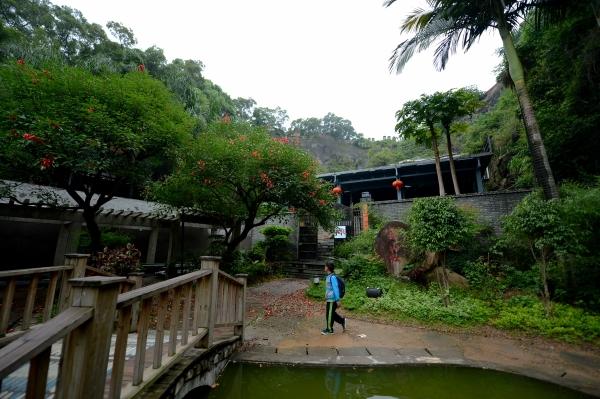 """一名游客从福州市晋安区金鸡山公园内被关停的""""映山红餐厅""""前经过(5"""
