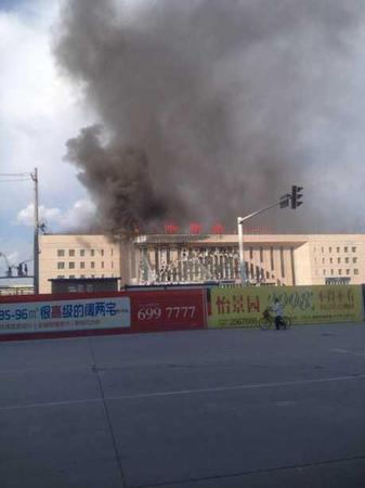 新疆哈密在建火车站发生大火