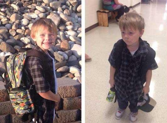 小男孩上学前后对比图