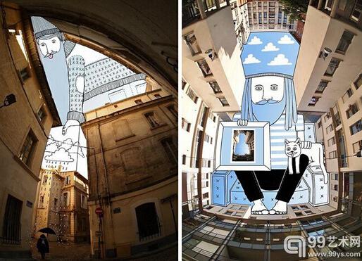 """来源:99艺术网   处都市丛林中,天空总是被林立的高楼大厦挤得黯淡和狭窄,想要抬头仰望一下湛蓝,往往也只剩下残缺的一小角。然而对于法国艺术家Thomas Lamadieu而言,这片被建筑挤压的天空却成为他随手可得肆意挥洒想象力的创作画布,他用这些不规则的几何形缺口作为画板,以充满趣味的线条,完成了名为""""Sky Art""""的插画系列。天马行空的创意思维,带给我们失去已久的城市惊喜。"""