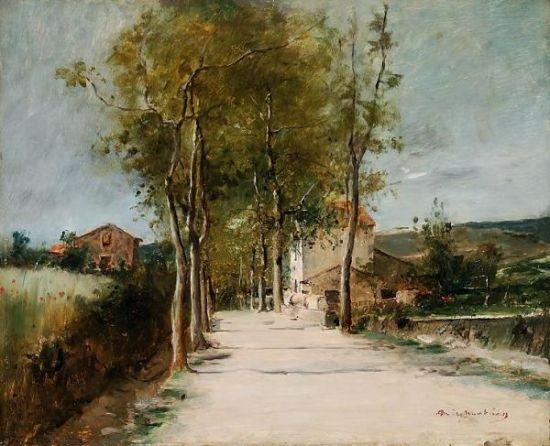 蒙卡奇作品《有树和小屋的风景画》