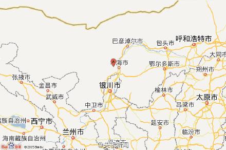 内蒙古乌海到宁夏海原地图