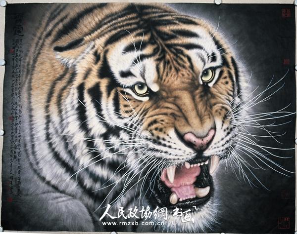 """雪岭双雄 2004年   """"孟祥顺画虎展""""将于6月27日在北京孟祥顺作品展馆开幕。此次展览将展出著名画家孟祥顺创作的以""""虎""""这一民族祥瑞图腾作为题材的30余幅作品。   孟祥顺以画虎著称。其在原有的艺术手法和理念上,做了进一步的挖掘和拓展。他由画虎的形貌、神态进而以""""虎""""这一特定文化意象为原点,深入考察民族文化的精神内核。从文学、历史到造型艺术等多个角度切入,对艺术的现状和未来作了深刻的反思。同时,他以前所未有的超写实艺术手法,创作"""