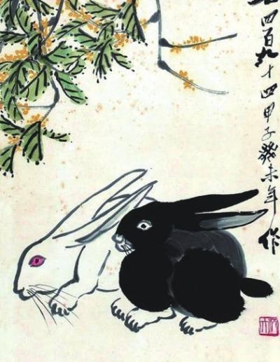 1933年创作水墨纸本《嫦娥奔月》,又在1935