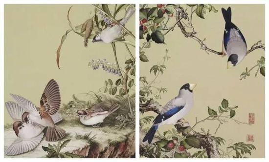 图为黄林珍花鸟刺绣作品
