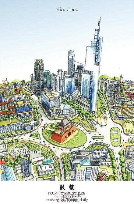 85后小伙手绘南京地标建筑 走红网络