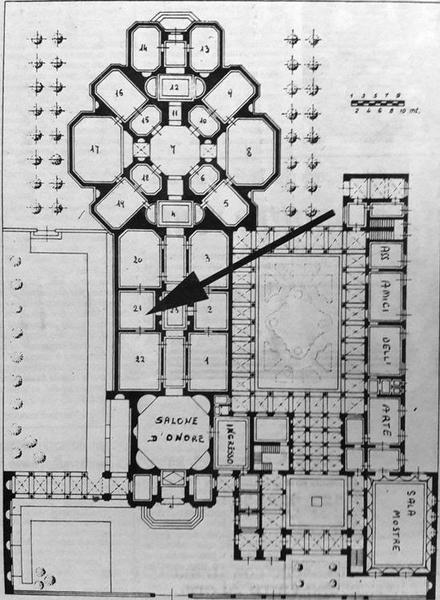 美术馆平面图,箭头处为画作被窃的地点.图