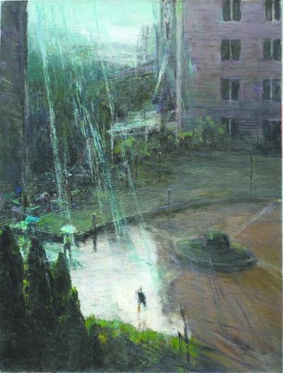 《楼间急雨》 (布面油画) 120厘米×90厘米 2014 钟涵