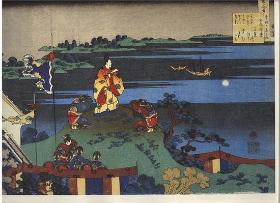 阿倍仲麻吕明州望月,选自葛饰北斋绘《百人一首》