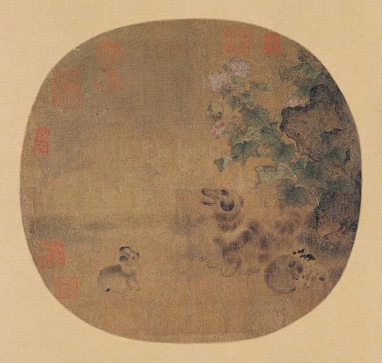 宋 无款 《秋庭乳犬图》绢本 上海博物馆藏
