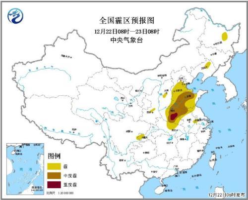 全国霾区预报图(12月22日8时-23日8时)