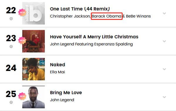 进军歌坛?奥巴马登上Billboard最热R&B歌曲榜单