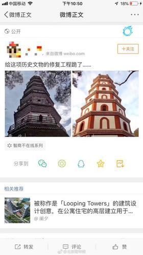 广东双塔修缮被吐槽 公园:这是复原 专家把过关