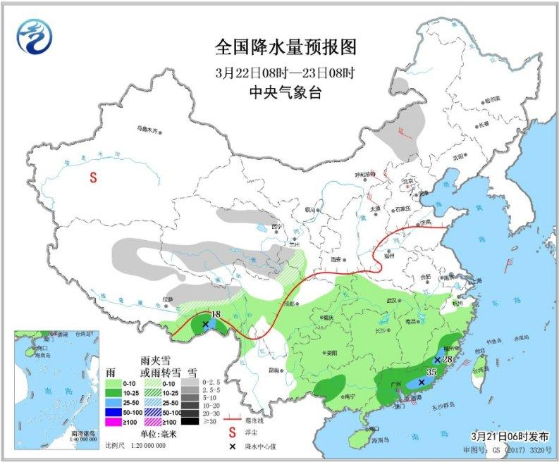 内蒙古中东部,山东半岛等地部分地区有4~6级及以上风(见图8).