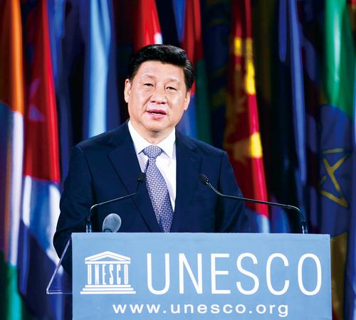 2014年3月27日,国家主席习近平在巴黎联合国教科文组织总部发表重要演讲。 新华社记者 姚大伟 摄