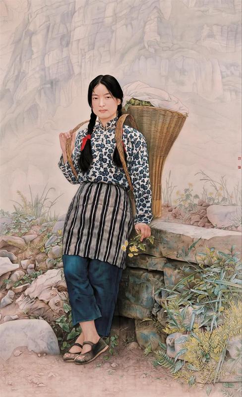 《山菊 》纸本工笔 220cmx135cm全国中国画人物画展览银奖5