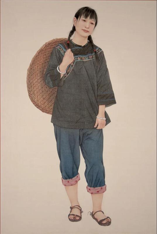 《农家女》绢本 工笔  80cmx50cm6